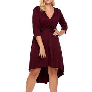 Dresses & Skirts - Plus Wine High Low Shaping Swing Dress, 3X-5X